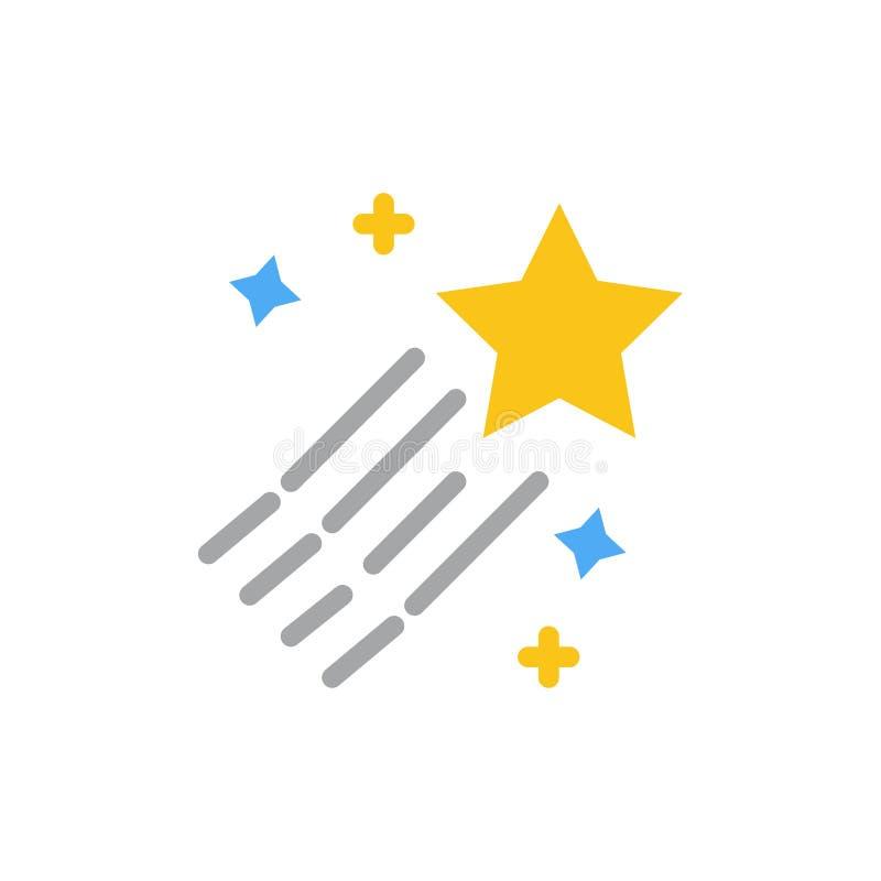 Asteroïde, comète, l'espace, icône plate de couleur d'étoile Calibre de bannière d'icône de vecteur illustration de vecteur