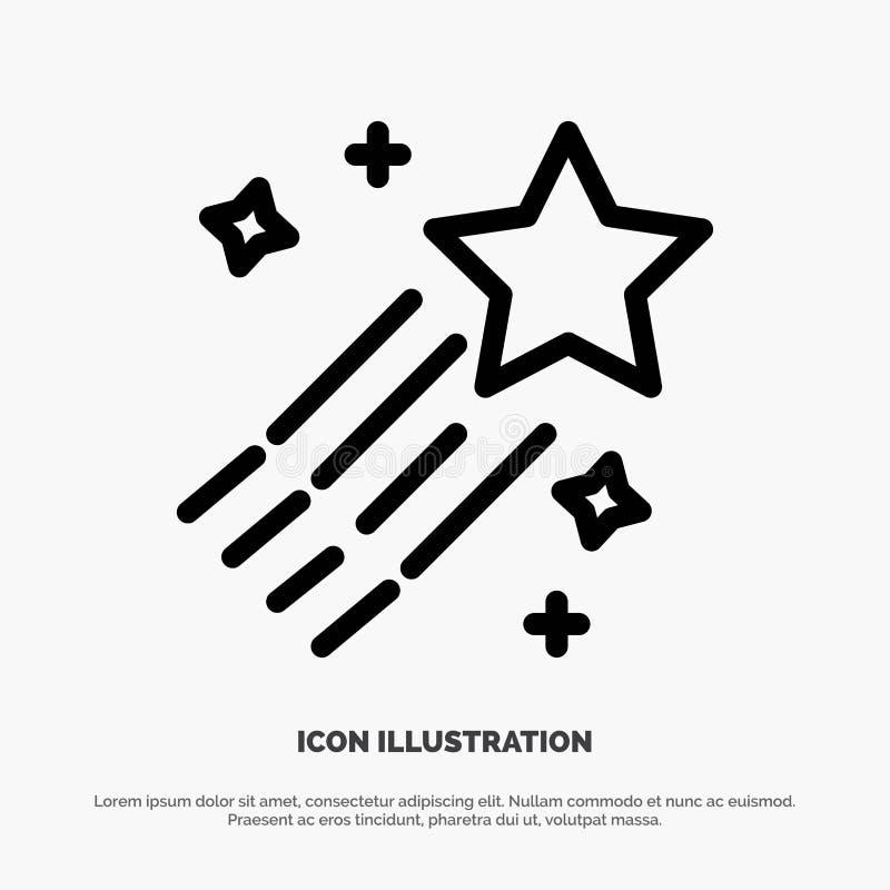 Asteroïde, comète, l'espace, ligne vecteur d'étoile d'icône illustration stock