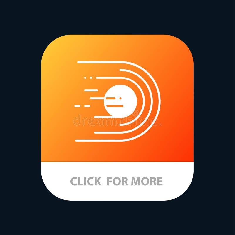 Asteroïde, comète, vol, lumière, bouton mobile d'appli de l'espace Android et version de Glyph d'IOS illustration libre de droits