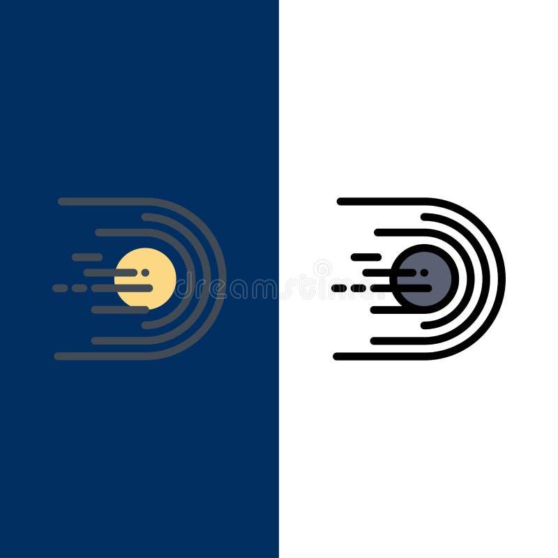 Asteroïde, comète, vol, lumière, icônes de l'espace L'appartement et la ligne icône remplie ont placé le fond bleu de vecteur illustration libre de droits