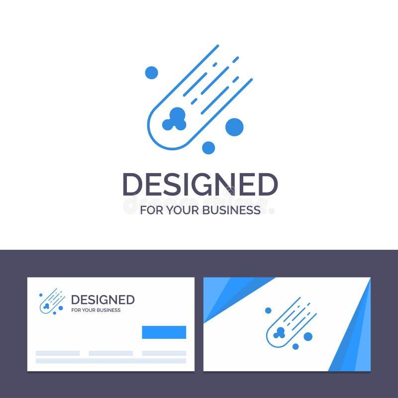 Asteroïde de visite de calibre créatif de carte de visite professionnelle et de logo, comète, illustration de vecteur d'espace illustration stock