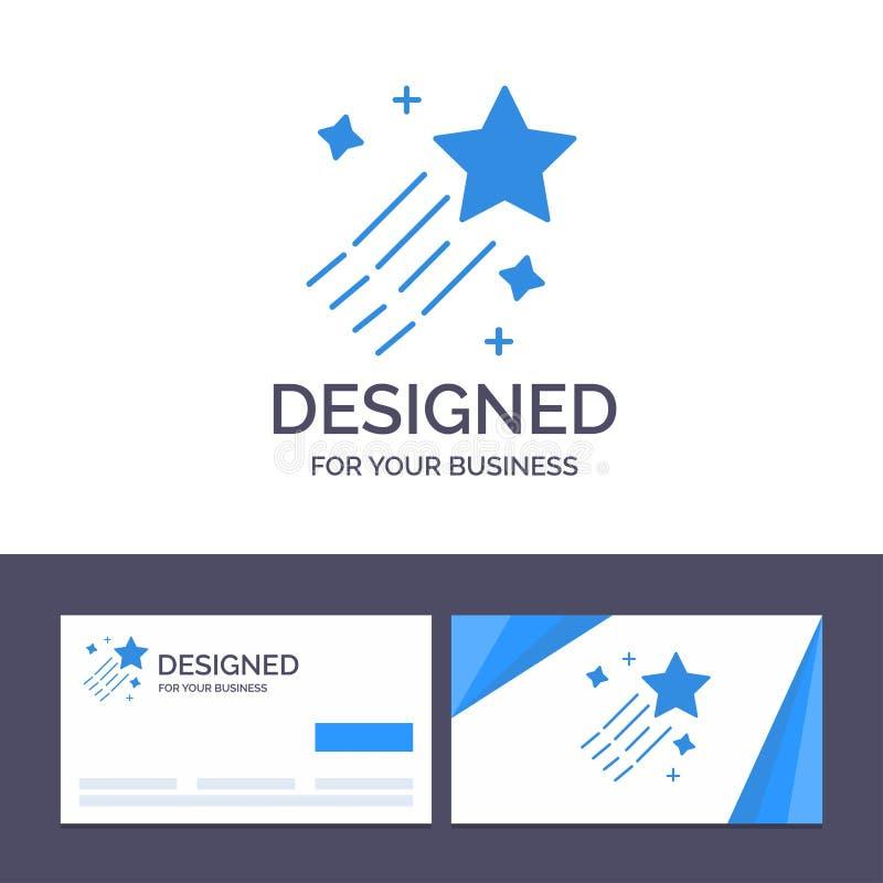 Asteroïde de visite de calibre créatif de carte de visite professionnelle et de logo, comète, l'espace, illustration de vecteur d illustration stock