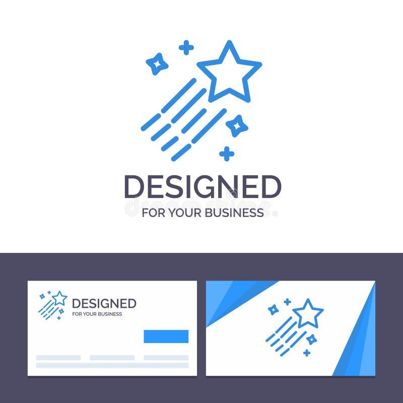 Asteroïde de visite de calibre créatif de carte de visite professionnelle et de logo, comète, l'espace, illustration de vecteur d illustration libre de droits