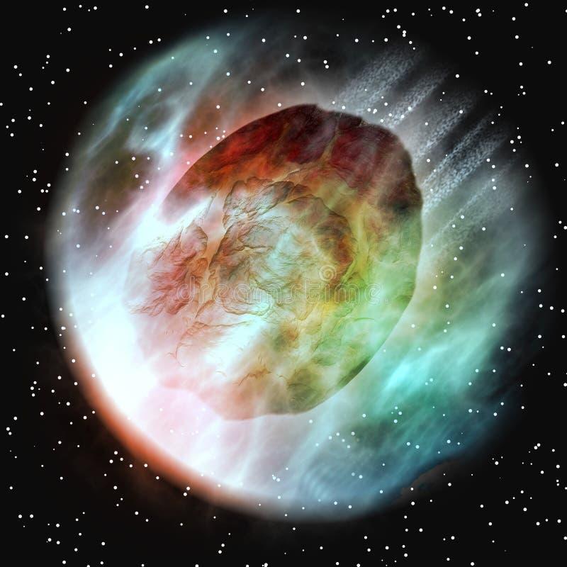 Asteroïde die de Atmosfeer van de Aarde ingaat royalty-vrije illustratie