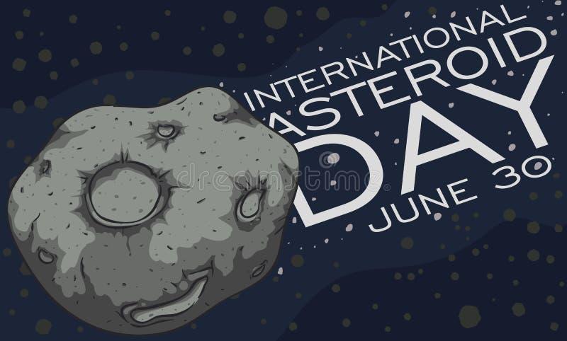 Asteroïde die de Riem kruisen tijdens Internationale Stervormige Dagviering, Vectorillustratie stock illustratie