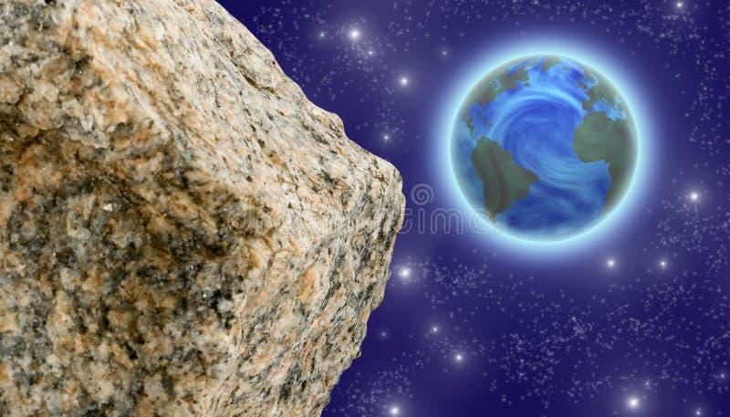 Asteroïde en planeet in ruimteclose-up stock illustratie