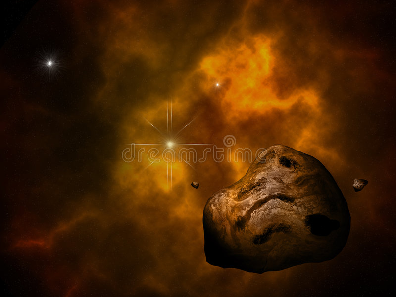 Asteroïde en zon vector illustratie