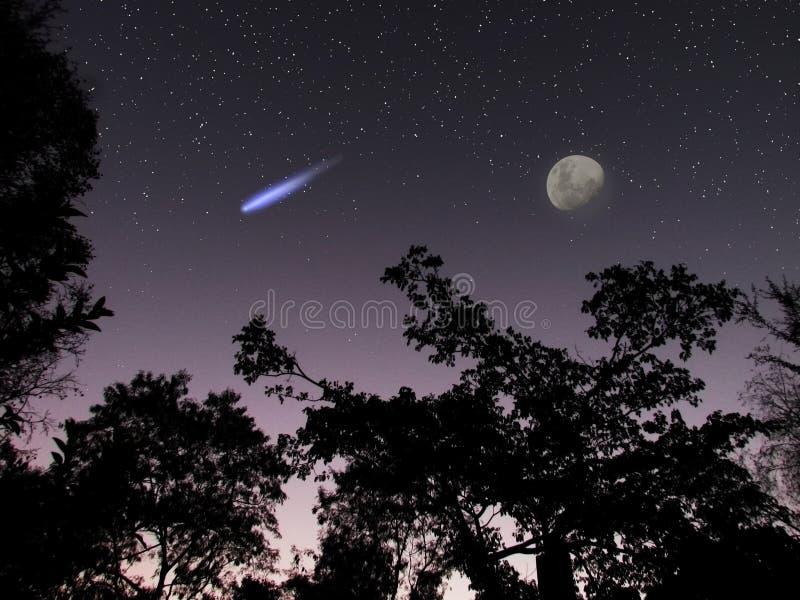 Asteroïde of komeet DA14 in de scène van de nachthemel royalty-vrije stock afbeelding