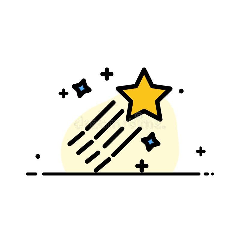Asteroïde, Komeet, Ruimte, Malplaatje Ster van de Bedrijfs het Vlakke Lijn Gevulde Pictogram Vectorbanner vector illustratie