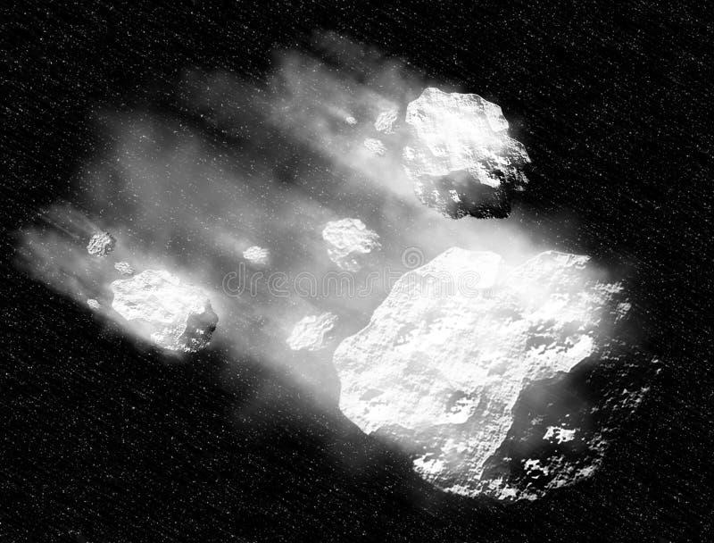 Asteroïde op diepe ruimte royalty-vrije illustratie