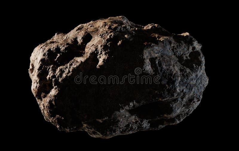 Asteroïde op Zwarte Achtergrond wordt geïsoleerd die royalty-vrije illustratie