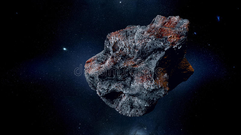 Asteroïde volant, météorite à la terre Espace extra-atmosphérique armageddon rendu 3d images libres de droits