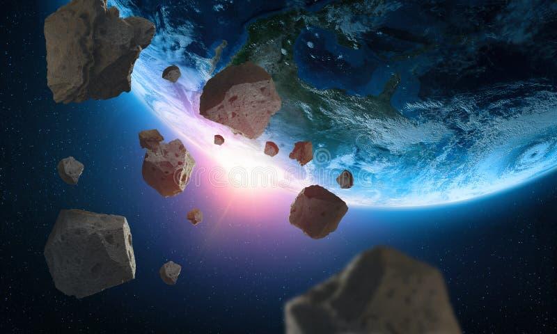 Asteroïden dichtbij de aarde Een mening van de bol van ruimte stock illustratie
