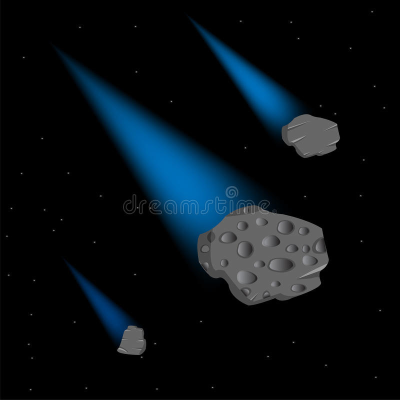 Asteroïdes en cosmos illustration stock