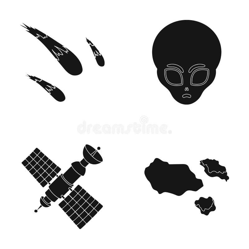 Asteroid, αυτοκίνητο, μετεωρίτης, διαστημικό σκάφος, σταθμός με τις ηλιακές μπαταρίες, το πρόσωπο ενός αλλοδαπού Διαστημικά καθορ διανυσματική απεικόνιση