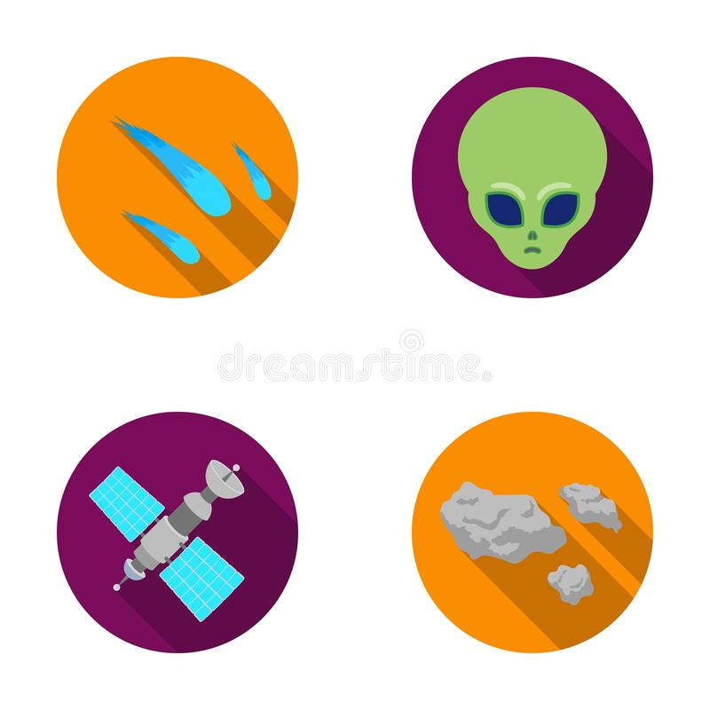 Asteroid, αυτοκίνητο, μετεωρίτης, διαστημικό σκάφος, σταθμός με τις ηλιακές μπαταρίες, το πρόσωπο ενός αλλοδαπού Διαστημικά καθορ απεικόνιση αποθεμάτων