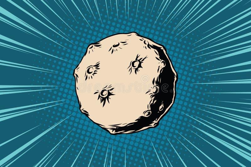 Asteroid με τους κρατήρες στο διάστημα διανυσματική απεικόνιση