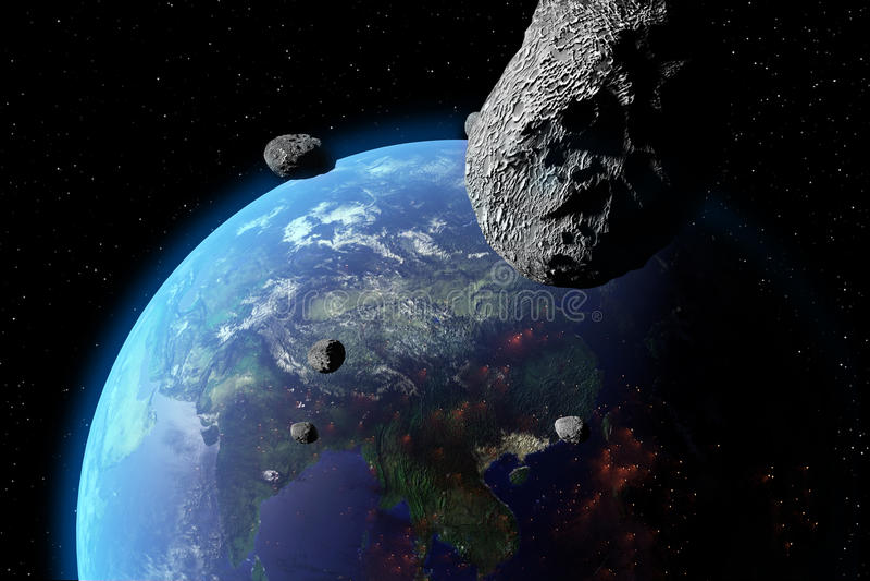 Asteroid πλησιάζει στη γη ελεύθερη απεικόνιση δικαιώματος