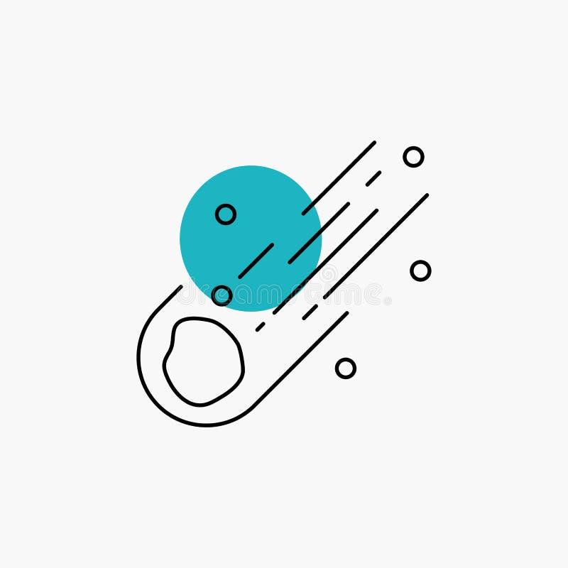 Asteroid astronomi, meteor, utrymme, kometlinje symbol vektor illustrationer