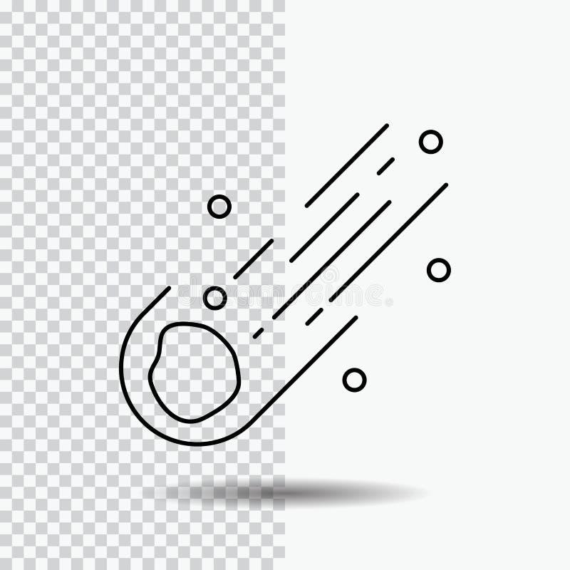 Asteroid astronomi, meteor, utrymme, kometlinje symbol p? genomskinlig bakgrund Svart symbolsvektorillustration royaltyfri illustrationer