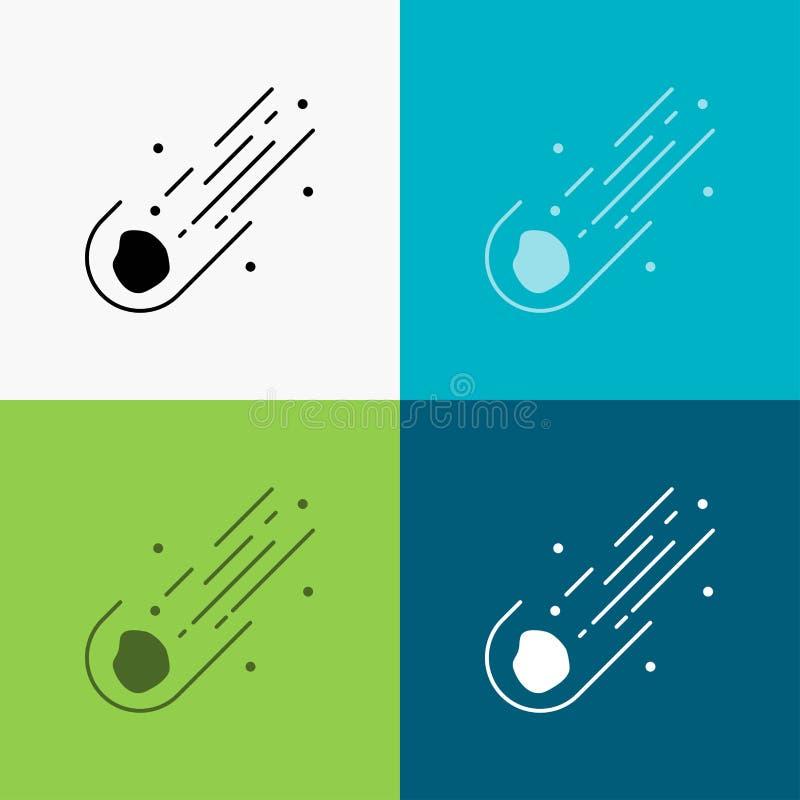 Asteroid astronomi, meteor, utrymme, kometsymbol ?ver olik bakgrund sk?rastildesign som planl?ggs f?r reng?ringsduk och app 10 ep vektor illustrationer