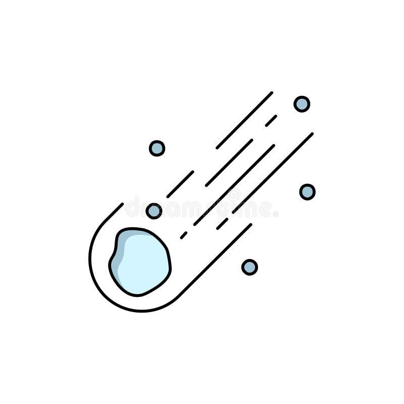 Asteroid, Astronomie, Meteor, Raum, Komet flacher Farbikonen-Vektor vektor abbildung