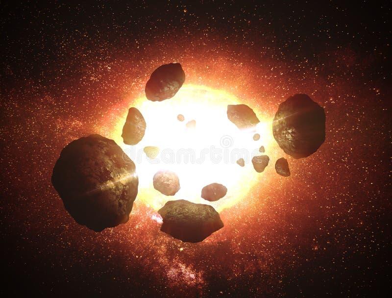 Asteroid auf Galaxie lizenzfreies stockbild