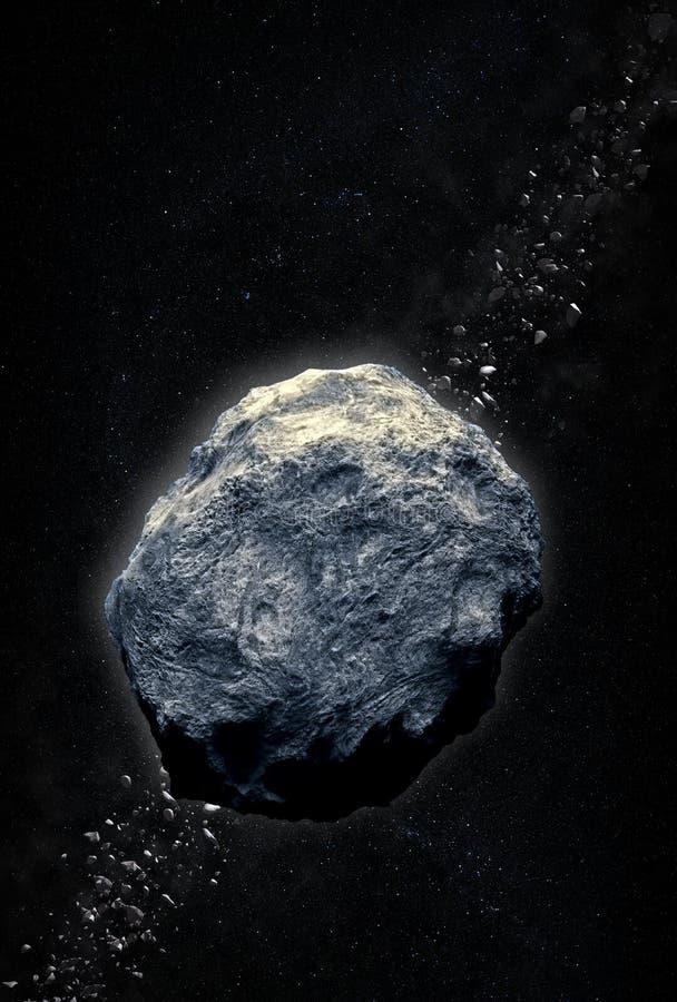 Asteroid belt stock image