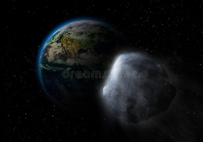 Asteroid on collision path with earth vector illustration