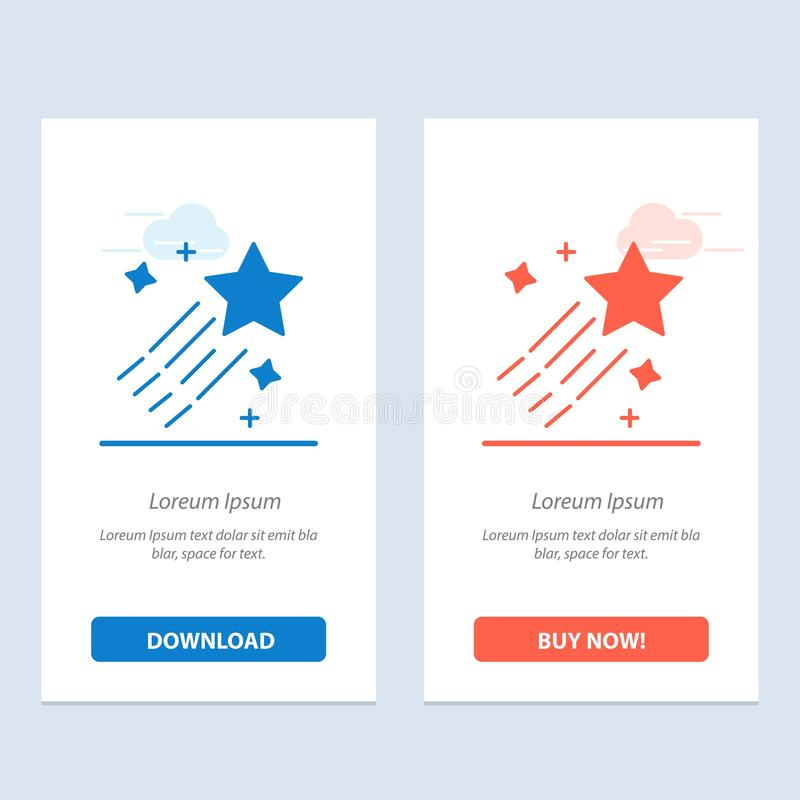 Asteroid, Comet, Space, Star  Blue and Red Download and Buy Now web Widget Card Template stock illustration