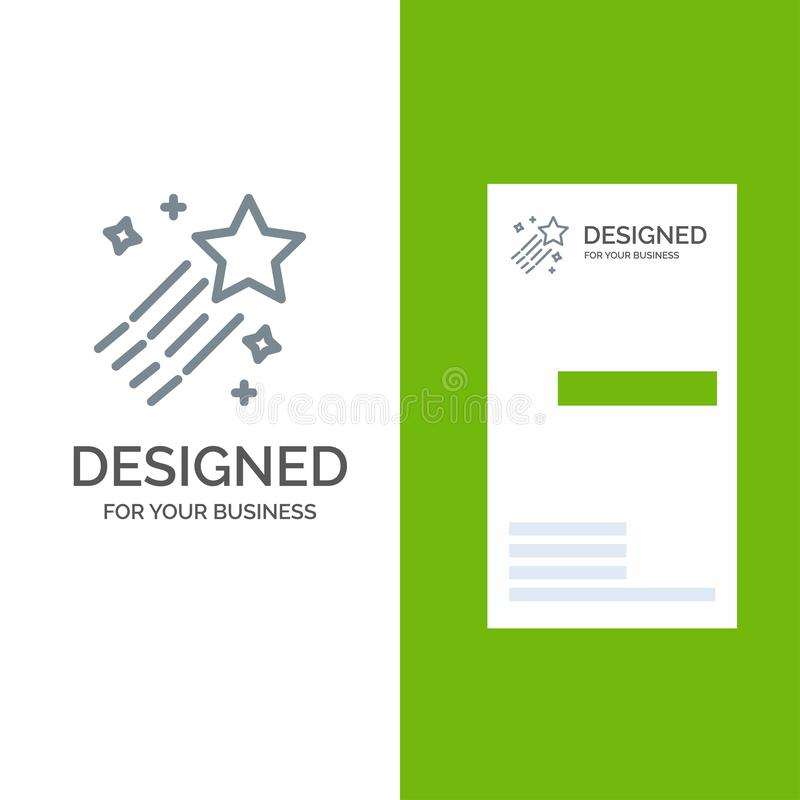 Asteroid, Comet, Space, Star Grey Logo Design and Business Card Template stock illustration