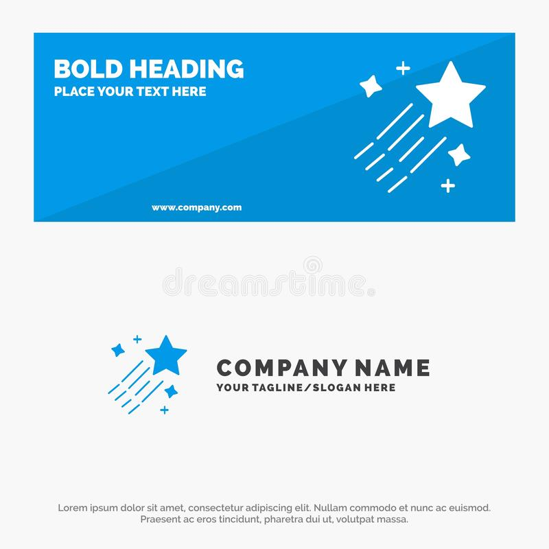 Asteroid, Comet, Space, Star SOlid Icon Website Banner and Business Logo Template stock illustration