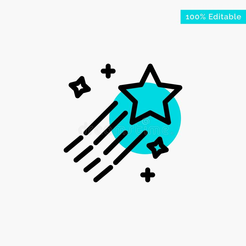 Asteroid, Comet, Space, Star turquoise highlight circle point Vector icon vector illustration