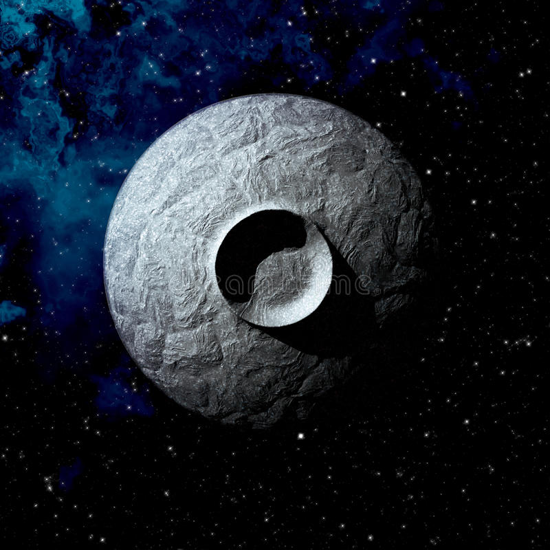 Asteroid crater. Single large crater on a small asteroid stock illustration