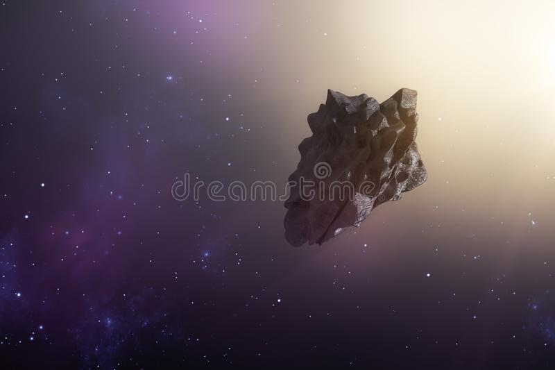 an asteroid in the deep space royalty free illustration
