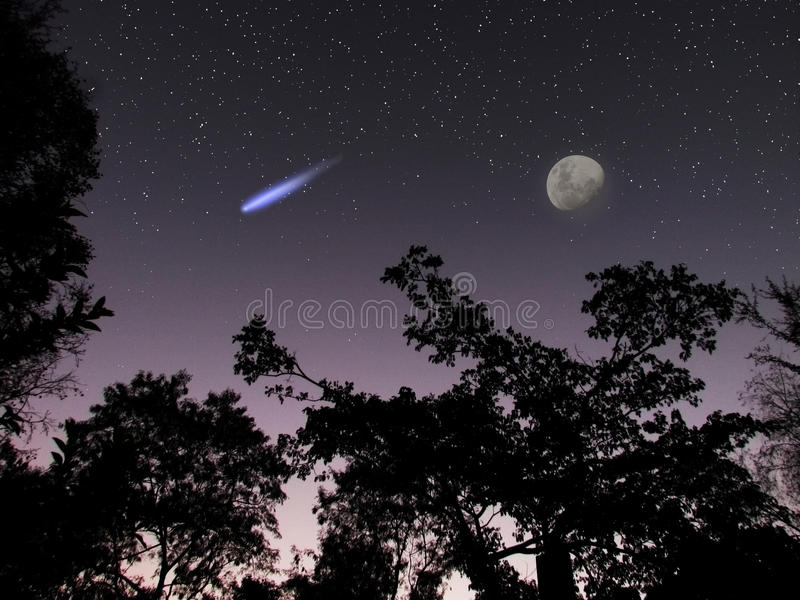 Asteroid eller komet DA14 i platsen för nattsky royaltyfri bild