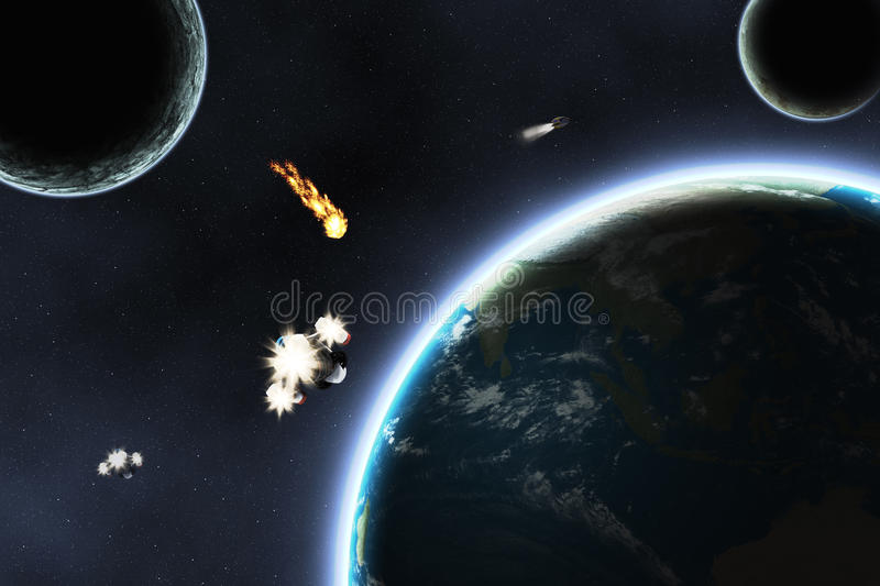 Download Asteroid falling on Earth stock illustration. Image of exploration - 26697253