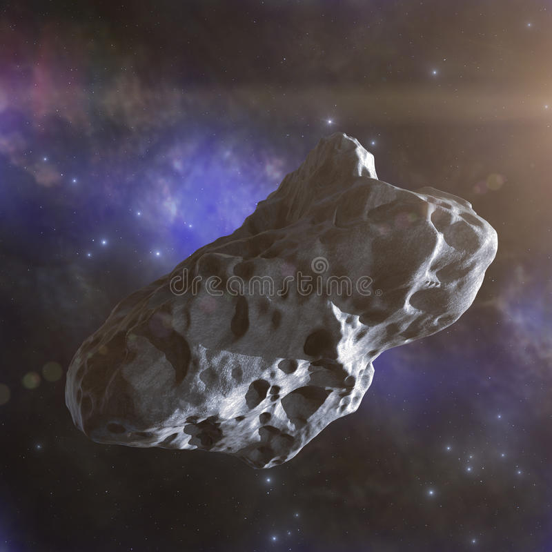 Asteroid flies in space. Abstract 3d render stock images