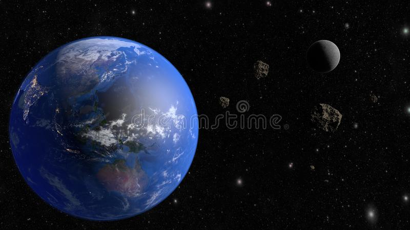 An asteroid flies to the earth. 3D rendering royalty free illustration