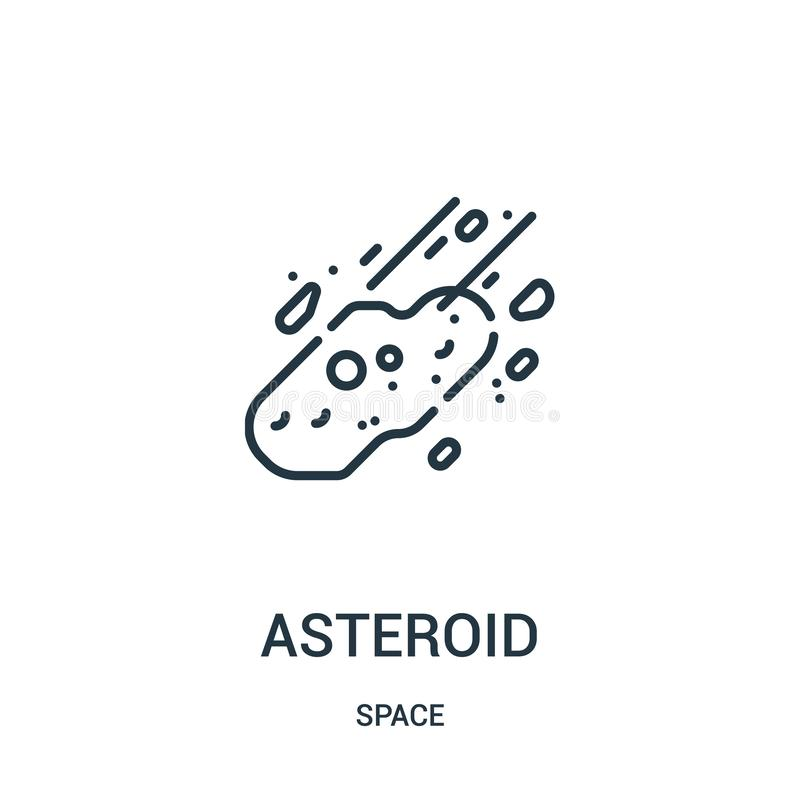 asteroid icon vector from space collection. Thin line asteroid outline icon vector illustration vector illustration
