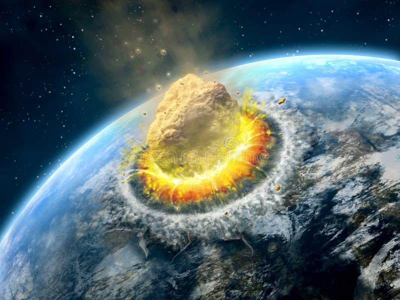 Asteroid impact royalty free illustration