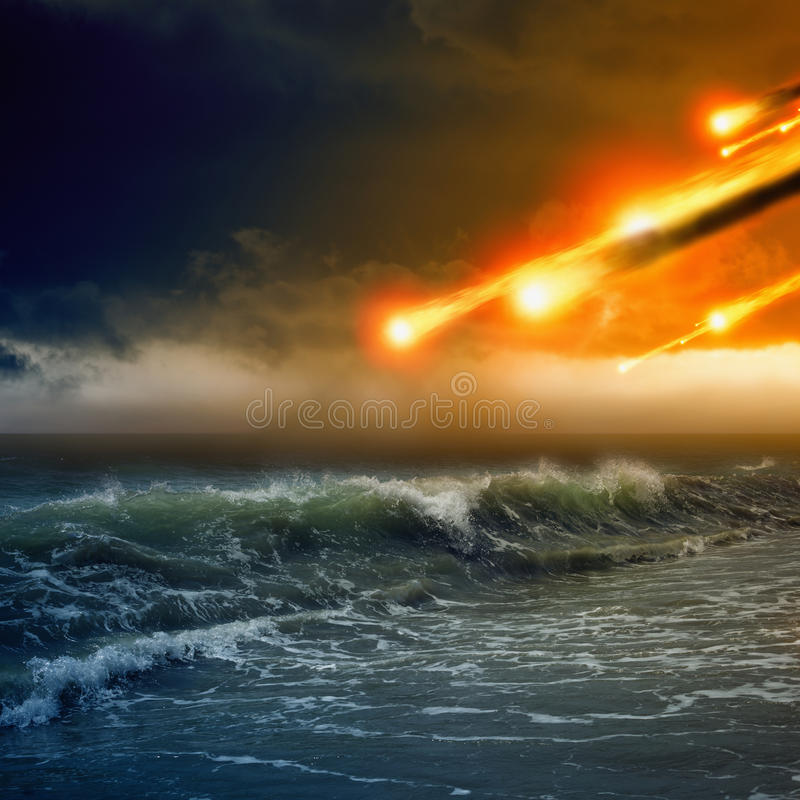 Asteroid impact. Abstract dramaticc background - asteroid impact, meteorite impact, stormy sea, ocean stock image