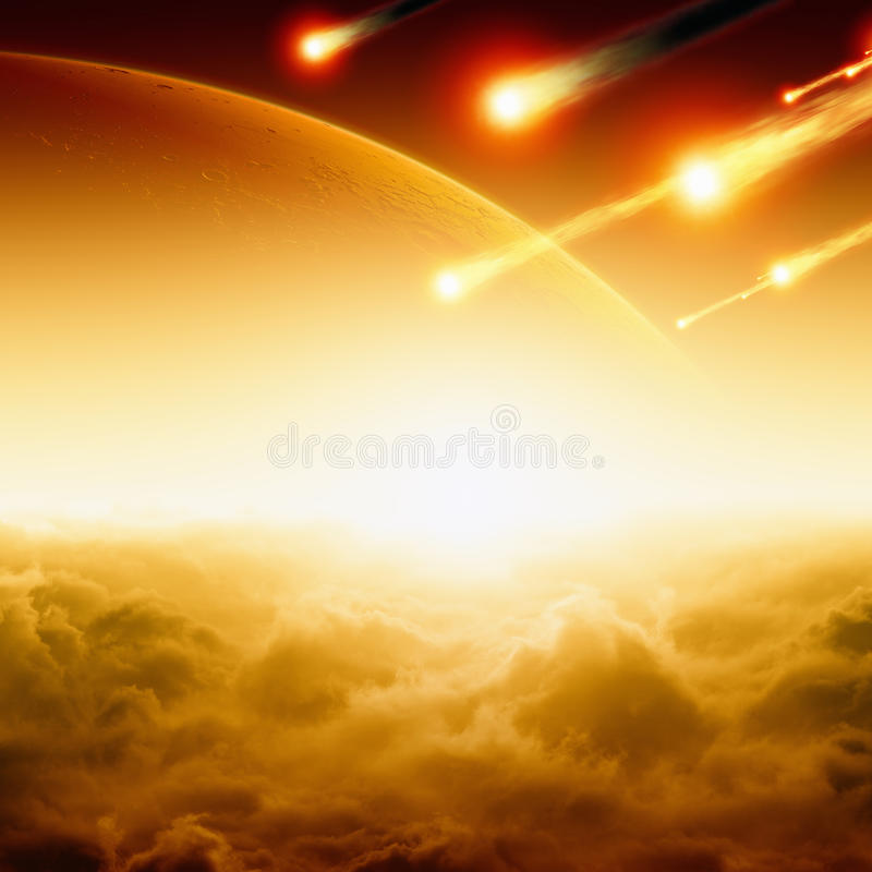 Asteroid impact. Abstract fantastic apocalyptic background - asteroid impact, red sunset, red planet mars in space. Elements of this image furnished by NASA/JPL stock photography