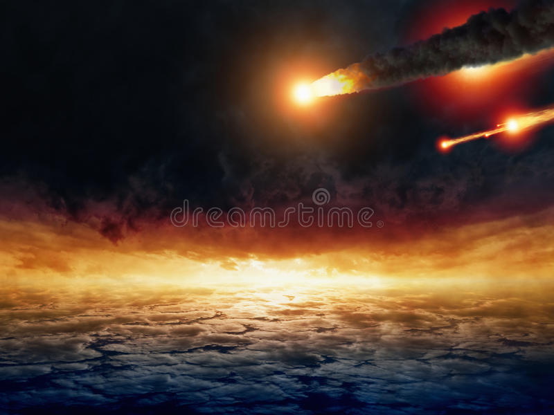 Asteroid impact. Dark stormy sky, red susnset, armageddon and hell. Elements of this image furnished by NASA royalty free stock photo