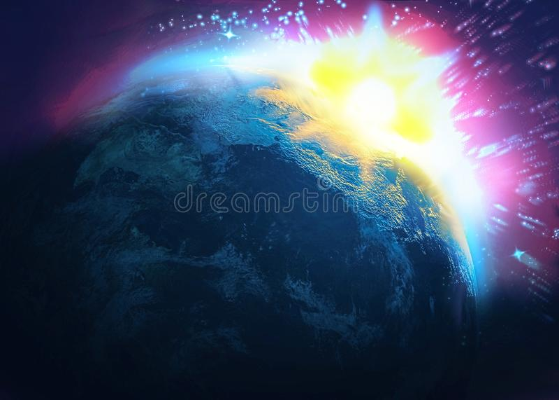 Asteroid impact, end of world,. 3d illustration vector illustration