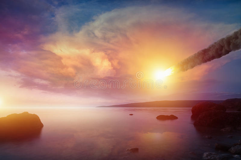 Asteroid impact, end of world, judgment day royalty free stock photos