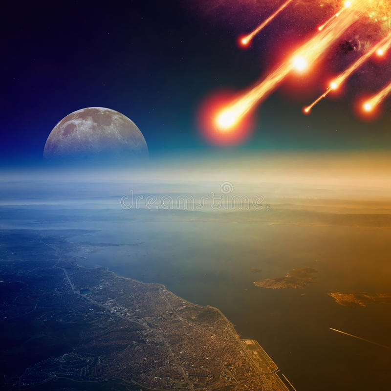 Asteroid impact, end of world, judgment day stock photos