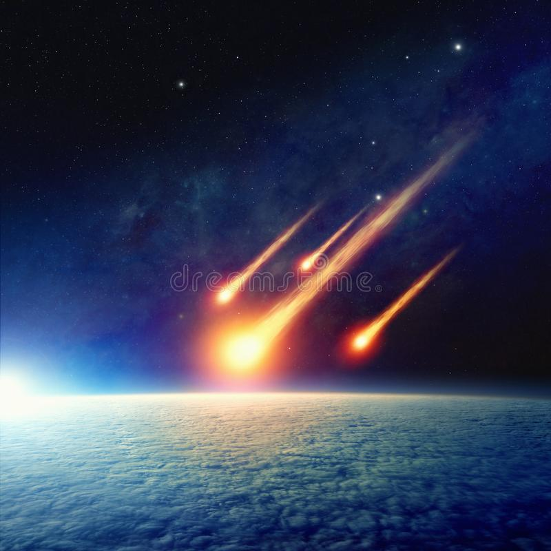 Asteroid impact, end of world, judgment day. Apocalyptic background - asteroid impact, end of world, judgment day. Group of burning exploding asteroids stock image