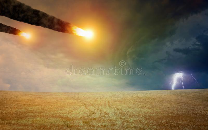 Asteroid impact, end of world, judgment day. Dramatic dark stormy sky with powerful lightning - apocalyptic religious background. Elements of this image stock photography