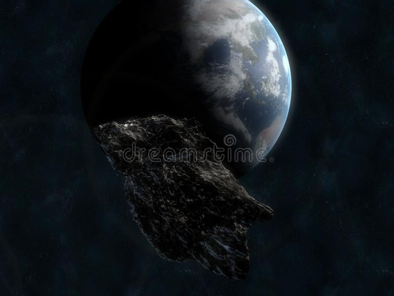 Asteroid infront of earth stock image